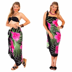 Hawaiian Floral Sarong in  Pink/Black