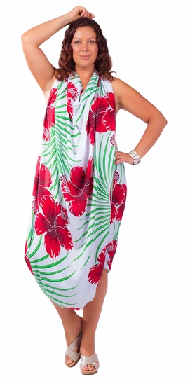 Hawaiian PLUS SIZE  Fringeless Sarong Green / Red / White