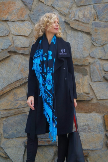 Hibiscus Floral Black Design Scarf, Wrap or Shawl - in your choice of colors