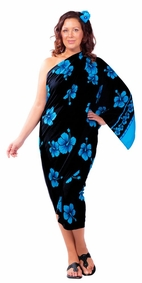 Hibiscus Flower PLUS SIZE Sarong in Aqua Blue / Black-NO RETURNS