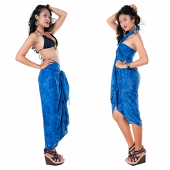 Hibiscus Flower Sarong in Navy Blue