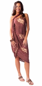 "Hibiscus Flower Sarong ""Milk Chocolate Brown"""