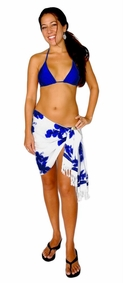 Hibiscus Half Sarong in Blue / White