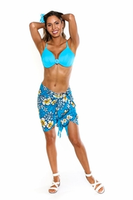 Hibiscus Half Sarong in Turquoise / Yellow