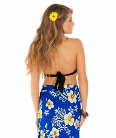 Hibiscus Half Sarong in Royal Blue / White