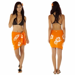 "Hibiscus Half Sarong ""Orange / White"" Fringed"