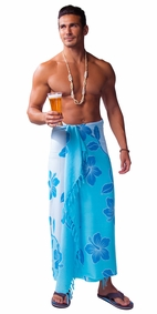 Hibiscus Mens Sarong in Light Blue / Turquoise