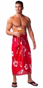 Hibiscus Mens Sarong in Red / White