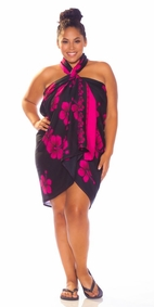 Hibiscus PLUS SIZE Sarong in Black W/ Pink-NO RETURNS