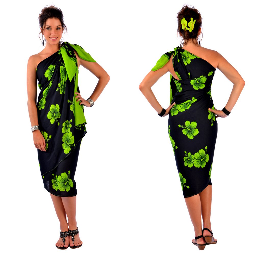 plus size sarong in lime green / black
