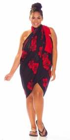 Hibiscus PLUS SIZE Sarong in Red / Black-NO RETURNS