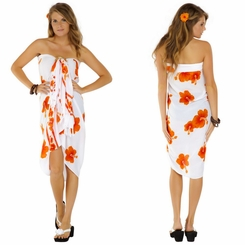Hibiscus Sarong in Orange / White