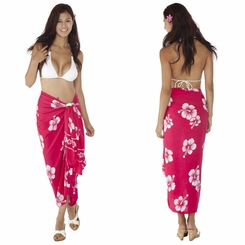 Hibiscus Sarong in Pink/White