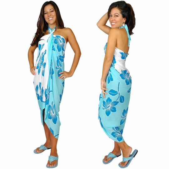 """Hibiscus Sarong """"Light Blue / Turquoise"""""""
