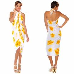 "Hibiscus Sarong ""Yellow / White"""