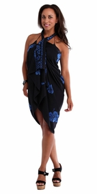 Hibiscus Top Quality Sarong in Black / Blue PLUS Size-NO RETURNS