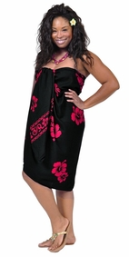 Hibiscus Top Quality Sarong in Black / Pink PLUS Size-NO RETURNS