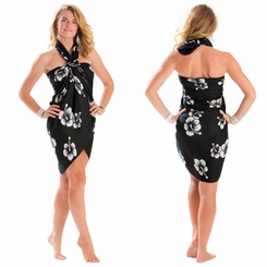 Hibiscus Top Quality Sarong in Black / White PLUS Size