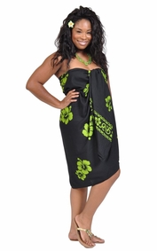 Hibiscus Top Quality Sarong in Lime Green / Black PLUS Size-NO RETURNS