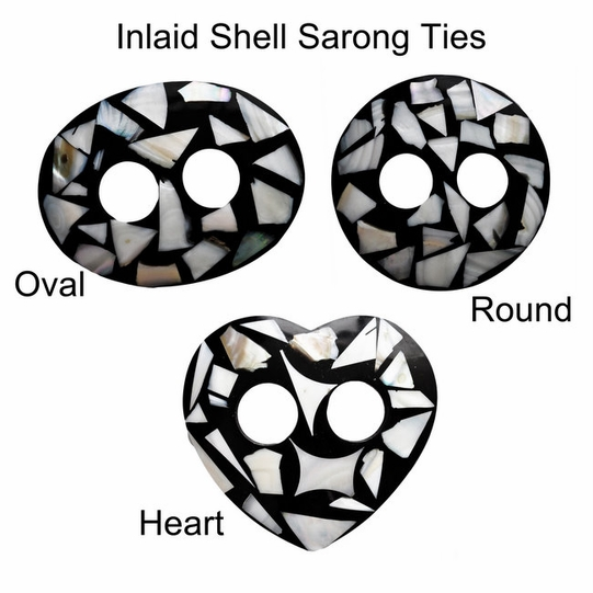 Inlaid Shell Sarong Ties - Black/White