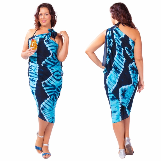 """Jungle Baby Blue"" PLUS SIZE Tie Dye Sarong"