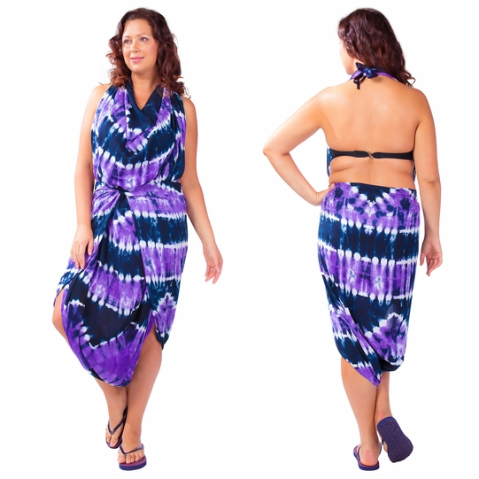 """Jungle Purple"" PLUS SIZE Tie Dye Sarong"