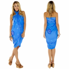 Light Blue Sarong w/ Triple Embroidery