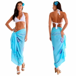 Light Turquoise Sarong w/ Triple Embroidery