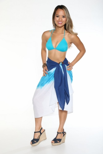 Light Weight Cotton Sarong in Turquoise, White and Blue Ombre