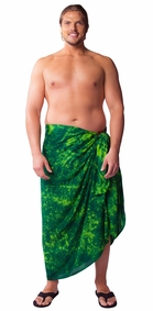 """Lime / Dark Green"" Smoked Mens Sarong PLUS SIZE XL - 3X +"