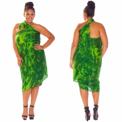 """Lime / Dark Green"" Smoked Sarong PLUS SIZE XL - 3X +"