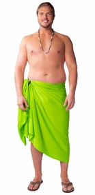 Lime Green Solid Mens Sarong PLUS SIZE