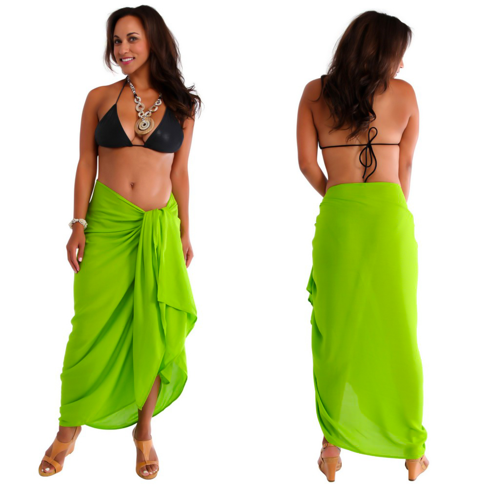 Lime Green Solid Sarong Plus Size