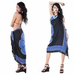 Lotus Floral Sarong in Blue/Black