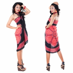Lotus Floral Sarong in Red/Black