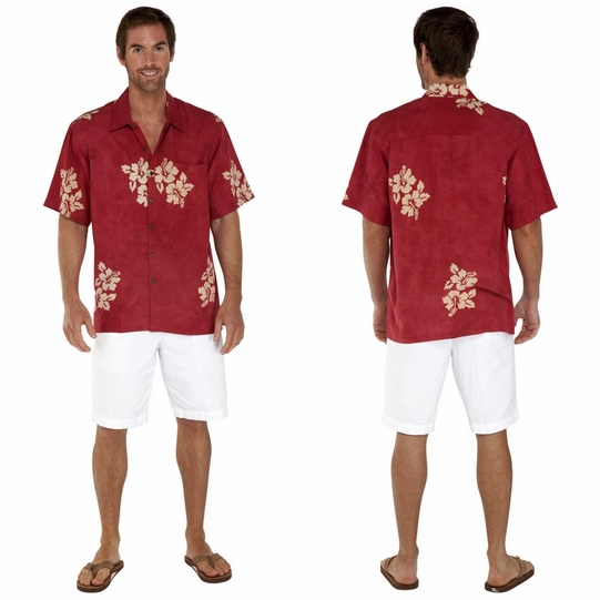 "Mens Hawaiian Aloha Shirt ""Hibiscus"" Burgundy"