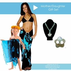 Mother / Daughter Hibiscus Sarong in Aqua Blue Gift Set