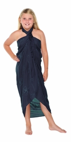 Navy Blue Embroidered Girls Sarong