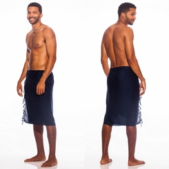 Navy Blue Mens Solid Sarong