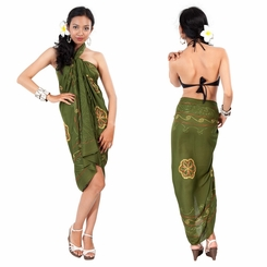 Olive Green Sarong W/ Triple Embroidery