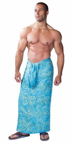 Paisley Mens Sarong in Turquoise