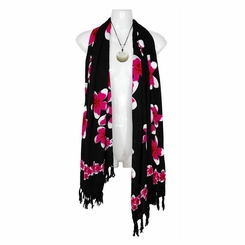 Plumeria Floral Motif Neck Scarf, Wrap or Shawl - in your choice of colors
