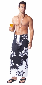 "Plumeria Mens Sarong ""Black / White"""