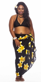 Plumeria PLUS SIZE Sarong in Black / Yellow-NO RETURNS