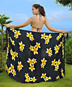 "Plumeria Sarong ""Black / Yellow"""