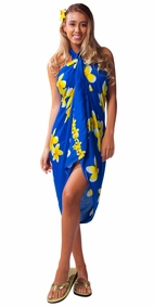 "Plumeria Sarong ""Blue / Yellow"""