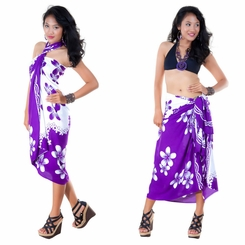 Plumeria Sarong in Purple / White