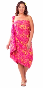 """Plus Size Abstract Floral Sarong """"Electric Love"""" Red and Pink"""