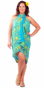 "Plus Size Abstract Floral Sarong ""Tropical Summer"" Turquoise and Yellow"
