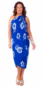 "Plus Size Floral Sarong Hibiscus Beauty"""" Blue and White""""-NO RETURNS"